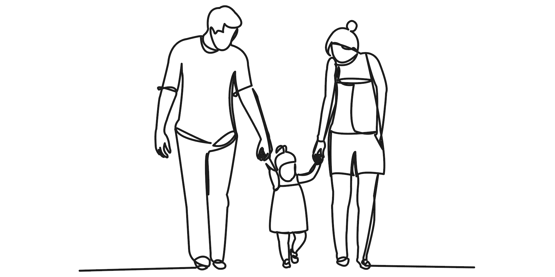 Illustration of father, mother and daughter walking