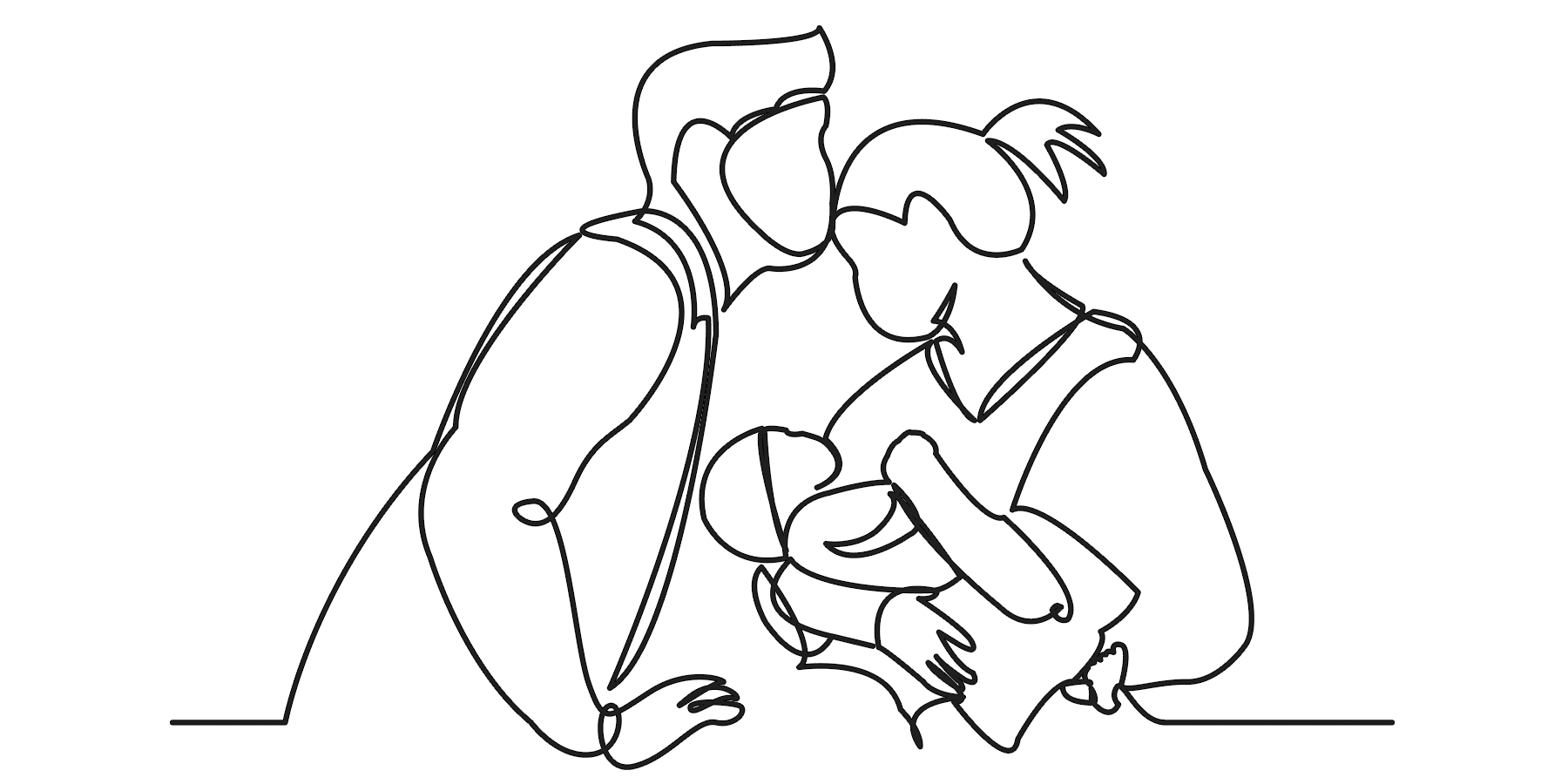 Illustration of father, mother and baby cuddling